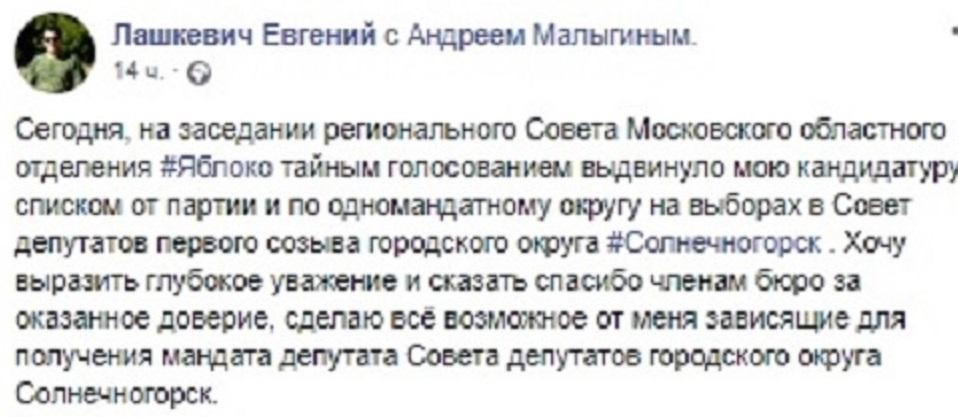 """""""Яблоко"""" выдвинуло шокирующих кандидатов на выборах в Подмосковье"""